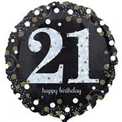 Sparkling Black 21 Balloon (45cm)