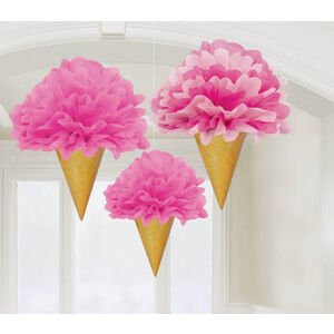 Hanging Pink Fluffy Ice Cream Decorations - pk3