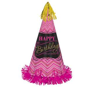 Large Pink Happy Birthday Party Hat