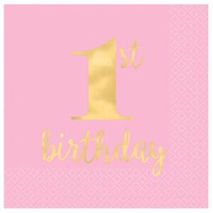 Small Gold & Pink 1st Birthday Napkins - pk16
