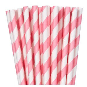 New Pink White Stripe Paper Straws - pk24