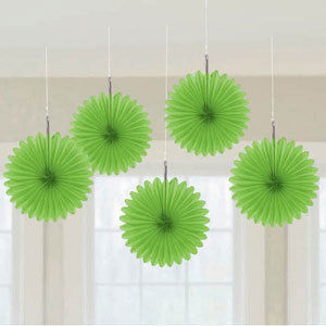 Lime Green Mini Fan Decorations - pk5