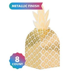 Hot Stamped Gold Pineapple Favour Boxes - pk8