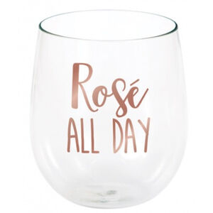 Rose All Day Plastic Stemless Wine Glass